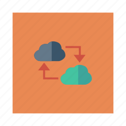 cloud, database, link, media, network, storage, weather icon