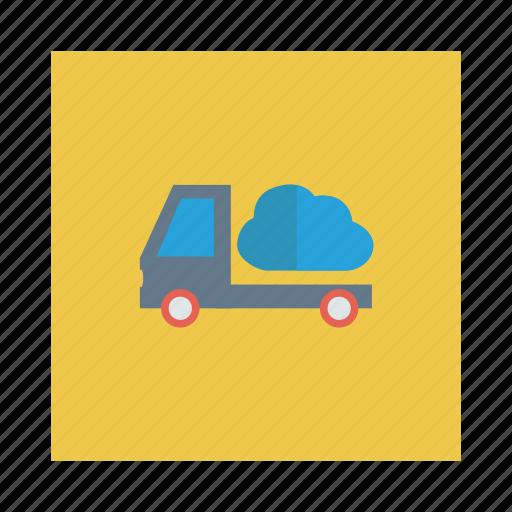 cloud, delivery, server, transport, truck, van, vehicle icon