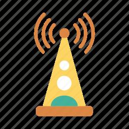 antenna, danger, internet, network, signal, warning, wireless icon
