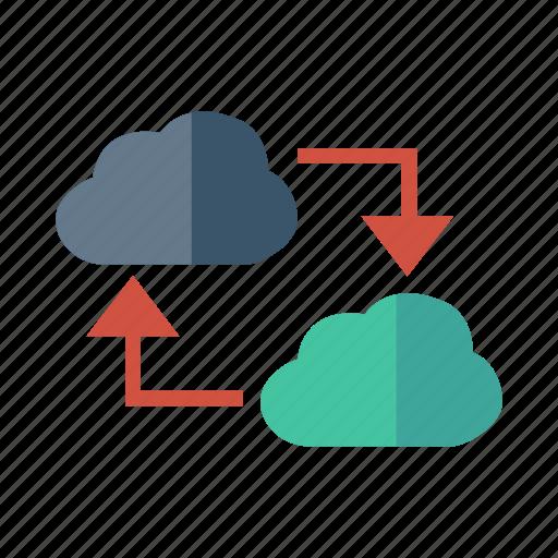 cloud, database, link, media, network, storage, weather icon