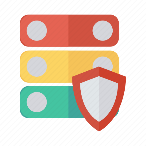 database, hosting, network, protection, security, shield, storage icon