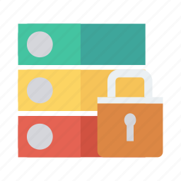 database, hosting, network, protection, security, server, storage icon