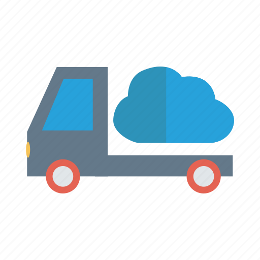 cloud, delivery, server, transport, truck, van, vehicle icon