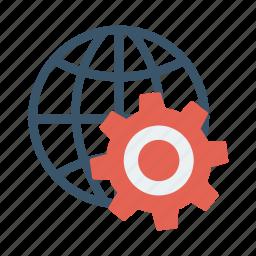business, cog, configuration, gear, globe, web, work icon