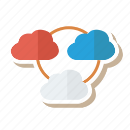 cloud, database, hosting, link, shared, socialmedia, weather icon