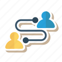 advertising, communication, message, network, team, technology, users icon
