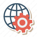 business, cog, configuration, gear, globe, web, work icon