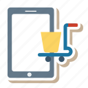 cart, commerce, marketing, mobile, phone, smartphone, telephone icon