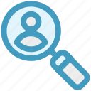 find, magnifier on user, magnifying, search for user, search user, user icon
