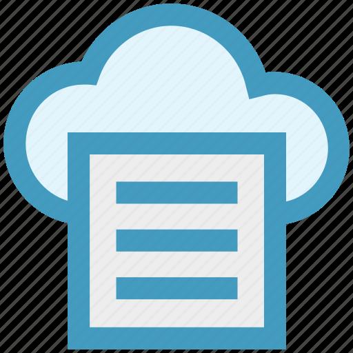 cloud, cloud computing, communication, document, file, network, paper icon