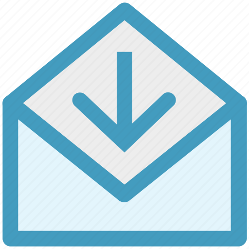 arrow, e-mail, envelope, letter, mail, message, receive icon