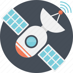 artificial satellite, communication satellite, satellite, space dish, wireless communication technology icon