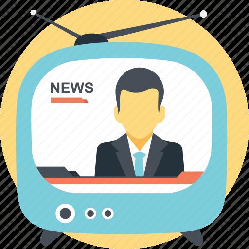 broadcast, mass communication medium, network, on air, tv icon