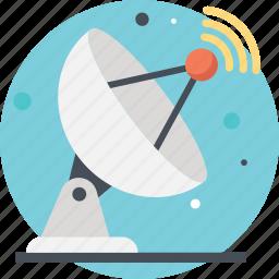 parabolic antenna, radio telescope, satellite dish, satellite space, wireless communication icon