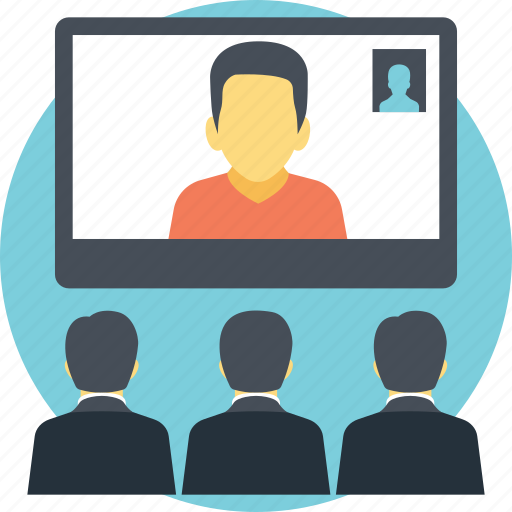 conference call, online conference, video conference, web conference, webinar icon