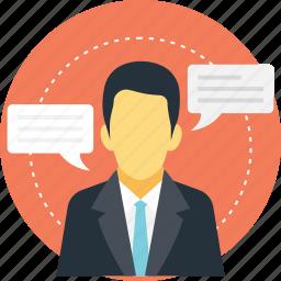 a person speaking, conversation, man speech, man talking, message icon
