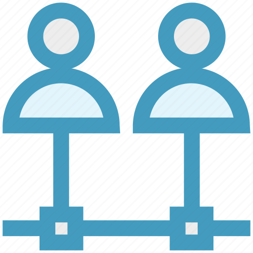 connection, employees, networking, sharing, two, users icon