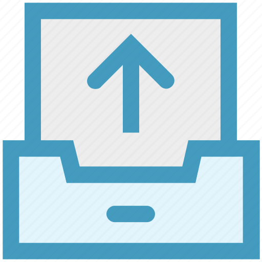arrow, communication, drawer, output, paper, up, upload icon