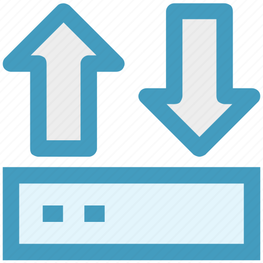 arrows, connection, device, modem, network, router, up and down icon