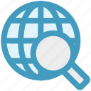 communication, glass, globe, magnifier, magnifying, search, world icon
