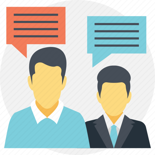 business communication, business dialogue, business discussion, business meeting, professional conversation icon