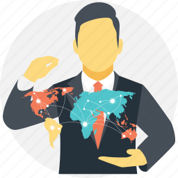 business connections, business network, global business, global businessman, worldwide business network icon
