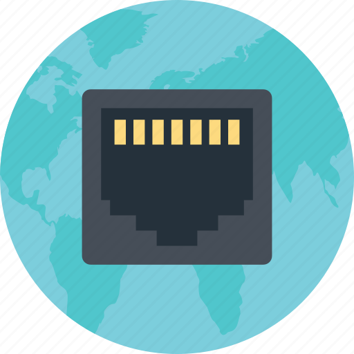 cable port, connector, ethernet, lan, network cable, network connection, network port icon