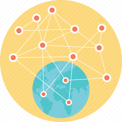 global connections, global networking, globalization, globalized community, worldwide connectivity icon