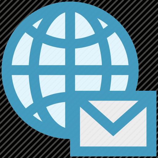 communication, earth, email, envelope, globe, internet, world icon