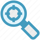find, focus, magnifier, search, seo, target, zoom icon