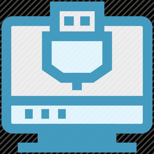 lan, lcd, led, monitor, port, technology, usb icon