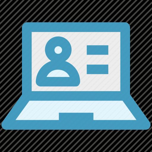 account, data, internet, laptop, person, profile, user icon