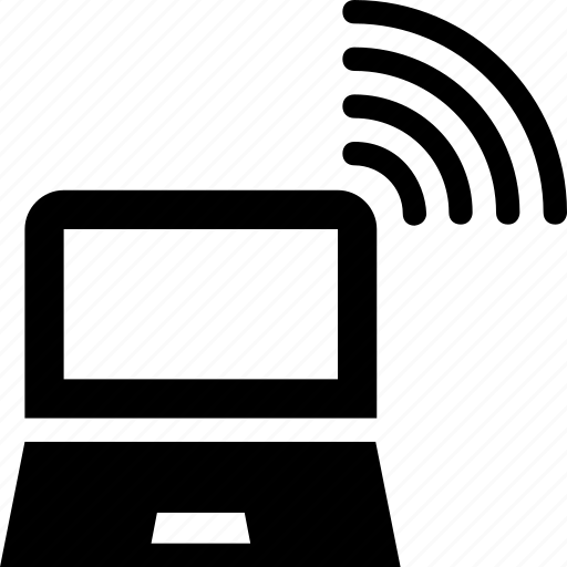 computing, laptop, signals, storage, wifi icon
