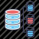 data network, data sharing, database network, server hosting, server network icon