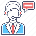 call center, customer representative, customer service, customer support, operator, telemarketing icon