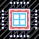 central processing unit, computer chip, hardware, microchip, microprocessor icon