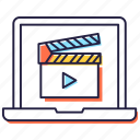 action, clapper stick, clapperboard, filmmaking, movie clapper, video production icon