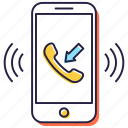 call, incoming call, mobile call, mobile ringing, phone, receiver icon