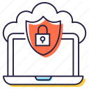 cloud protection, cloud security, data security, protected cloud, secure data icon