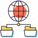data sharing, global connection, global network, hierarchical structure, network structure icon