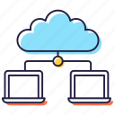 cloud computing, cloud hosting, cloud network, cloud technology, data sharing icon