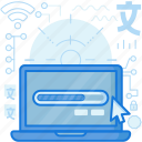 computer, cursor, device, laptop, load, loading