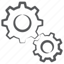 cogwheels, configuration, gears, repair, setting icon