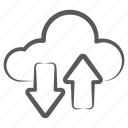 cloud data, cloud data transfer, cloud syncing, data syncing, data transmission icon
