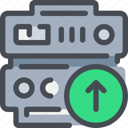 arrow, connect, database, network, server, upload icon