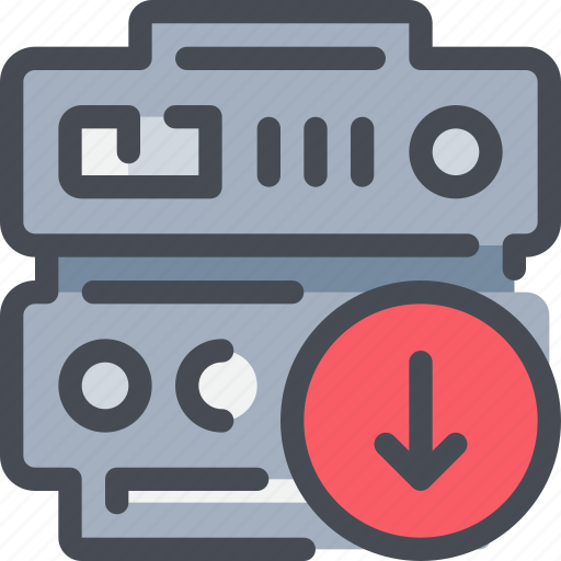 arrow, connect, database, download, network, server icon