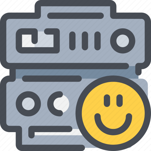 data, database, face, happy, network, server icon