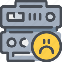data, database, face, network, sad, server icon