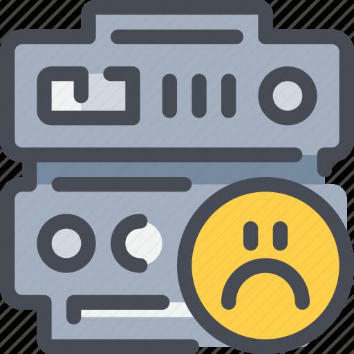 data, database, face, network, sad, server icon