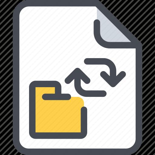 arrow, connect, exchange, file, folder, network icon
